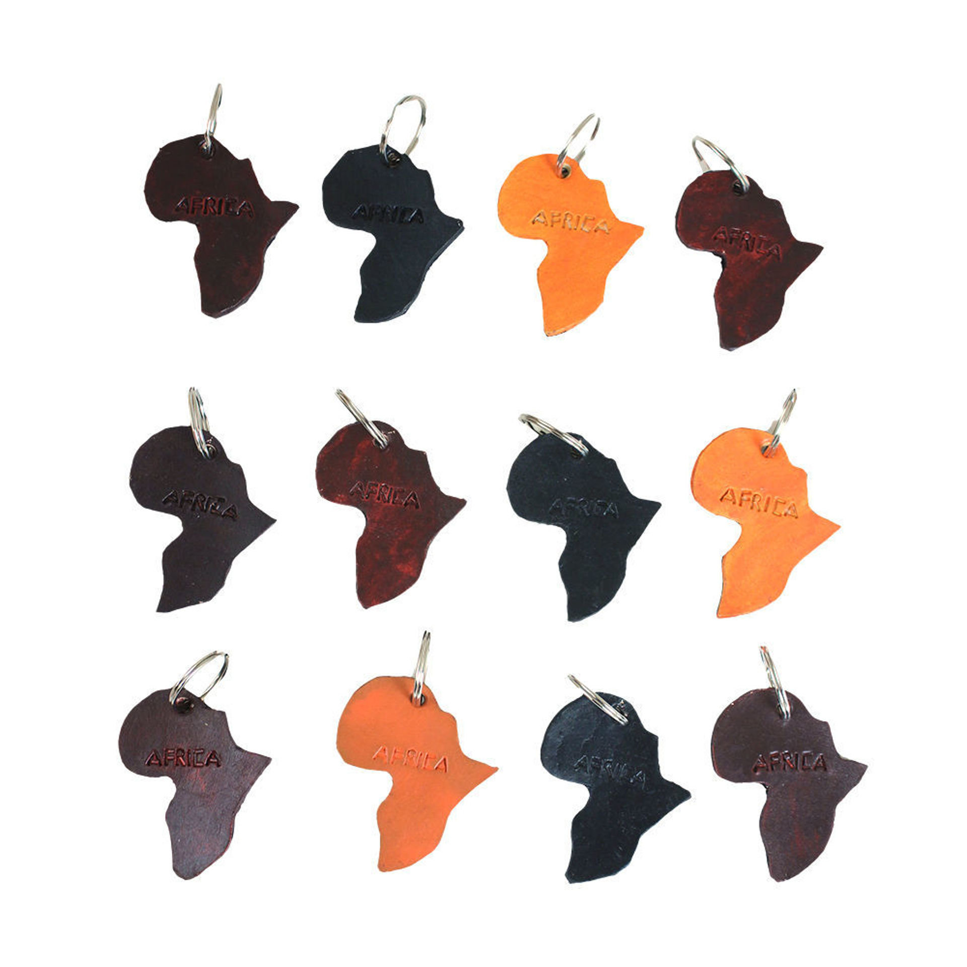 Picture of Set Of 12 Leather Africa Key Chains